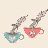 tazza del tè e del caffè con il modello floreale Fondo della tazza Drin caldo Immagini Stock