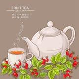 Tazza del tè e del teaapot selvaggi dei cinorrodi Fotografie Stock Libere da Diritti