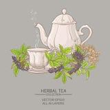 Tazza del tè e della teiera della bacca di sambuco royalty illustrazione gratis