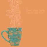 tazza del tè e del caffè con il modello floreale Fotografia Stock Libera da Diritti
