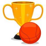 Tazza del trofeo con calcio con pallacanestro Fotografia Stock