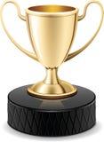 Tazza del trofeo dell'oro del disco di gomma di hokey del ghiaccio royalty illustrazione gratis