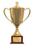 Tazza del trofeo dell'oro sul basamento di legno Fotografie Stock Libere da Diritti