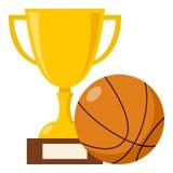 Tazza del trofeo ed icona piana della palla di pallacanestro illustrazione di stock