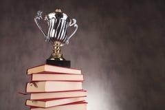 Tazza del trofeo su un mucchio dei libri con copyspace Fotografia Stock Libera da Diritti