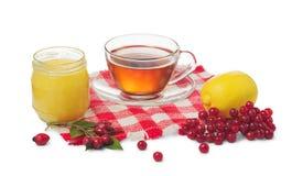 Tazza del vaso sano del tè, del limone e del miele Fotografia Stock Libera da Diritti