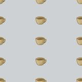 Tazza del vettore del tè Fondo senza cuciture del modello Immagini Stock Libere da Diritti