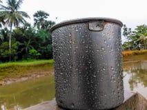 Tazza dell'acqua vicino allo stagno in un giorno piovoso fotografie stock libere da diritti