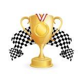 Tazza dell'oro, medaglia ed auto di corsa a quadretti della bandiera Vettore Immagine Stock