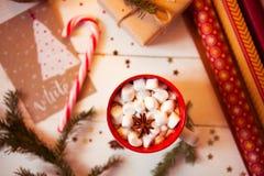 Tazza della bevanda del cioccolato caldo Cacao con le caramelle gommosa e molle e la cannella Immagini Stock