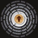 Tazza della lampadina in cappuccino Fotografie Stock
