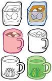 Tazza della tazza delle icone con il vettore disegnato a mano delle bevande illustrazione vettoriale