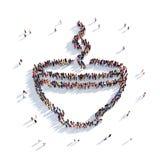 Tazza della tazza di caffè della gente 3d del tè Fotografia Stock Libera da Diritti