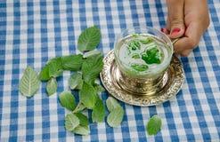 Tazza della tenuta della mano della donna con il tè di rilassamento curativo della menta Fotografia Stock Libera da Diritti