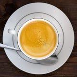 Tazza della vista superiore di cofee sulla tavola di legno Fotografie Stock Libere da Diritti