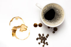 Tazza delle macchie del caffè e del coffe Fotografia Stock Libera da Diritti