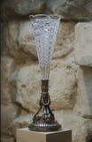 Tazza di antiquariato di cristallo su una gamba del metallo Immagini Stock