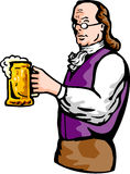 Tazza di birra del Benjamin Franklin Immagine Stock
