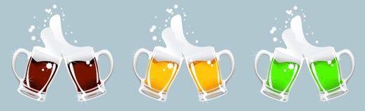 Tazza di birra tre Fotografie Stock Libere da Diritti
