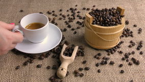 Tazza di caffè stock footage