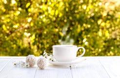 Tazza di caffè all'aperto con il sole delle palle della caramella della noce di cocco su un whi Fotografie Stock Libere da Diritti