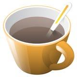 Tazza di caffè arancio con il cucchiaio Fotografia Stock
