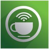 Tazza di caffè bianca e WiFi Fotografia Stock