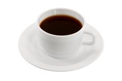 Tazza di caffè bianca su un piattino isolato Fotografie Stock Libere da Diritti