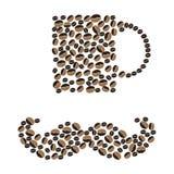 Tazza di caffè bianco Illustrazione di vettore Fagioli Fotografia Stock Libera da Diritti