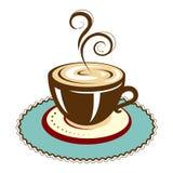 Tazza di caffè calda con il sottobicchiere Fotografia Stock Libera da Diritti