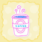 Tazza di caffè calda nel taglio della carta Immagini Stock