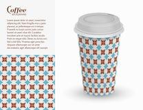 Tazza di caffè di carta del cartone e modello senza cuciture Fotografie Stock