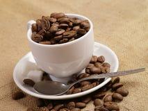 Tazza di caffè. Chicchi di caffè su tela da imballaggio 2 Fotografia Stock Libera da Diritti