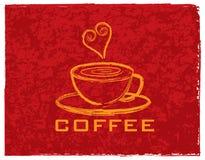 Tazza di caffè con amore sull'illustrazione rossa del fondo Fotografia Stock Libera da Diritti