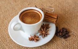 Tazza di caffè con cannella ed i fagioli Fotografia Stock