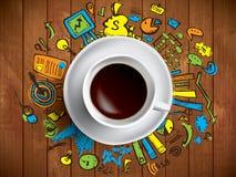 Tazza di caffè con gli scarabocchi colorati Fotografia Stock