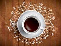 Tazza di caffè con gli scarabocchi colorati Immagine Stock