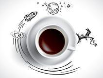 Tazza di caffè con gli scarabocchi colorati Immagine Stock Libera da Diritti