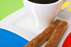 Tazza di caffè con i biscotti Fotografie Stock Libere da Diritti