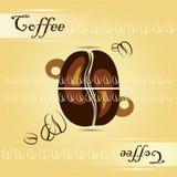 Tazza di caffè con i chicchi di caffè illustrazione di stock