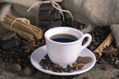 Tazza di caffè con i chicchi, il cioccolato e le spezie di caffè Immagine Stock Libera da Diritti