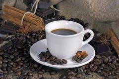 Tazza di caffè con i chicchi, il cioccolato e le spezie di caffè Fotografie Stock Libere da Diritti