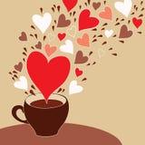 Tazza di caffè con i cuori di volo Fotografie Stock