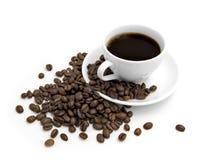 Tazza di caffè con i fagioli Immagini Stock