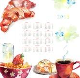 Tazza di caffè con i panini, calendario per 2013 royalty illustrazione gratis