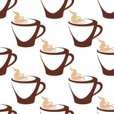 Tazza di caffè con il modello senza cuciture crema Immagini Stock Libere da Diritti