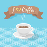 Tazza di caffè con il nastro e l'iscrizione Immagine Stock Libera da Diritti