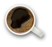Tazza di caffè con il percorso di residuo della potatura meccanica Immagini Stock Libere da Diritti