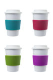 Tazza di caffè con il supporto del silicone Fotografie Stock