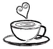 Tazza di caffè con l'illustrazione dell'estratto di amore Fotografia Stock